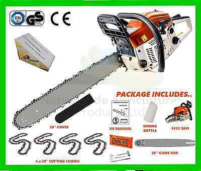 """Petrol Chainsaw Complete With 20"""" Guide Bar 4 x Cutting Chains, New 2017 Model"""