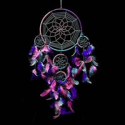 "Dream Catcher ~ Handmade Traditional Aqua Blue, Pink & Purple 8.5"" Diameter..."