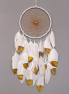 VGIA Handmade Dream Catcher with Feathers Wall Hanging Ornament Craft Gift, Gold