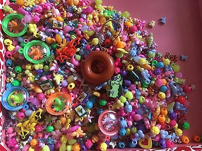 Large Mixed Lot Of Acrylic Beads&charms Kawaii/kitsch & Gumball Charms Colourful