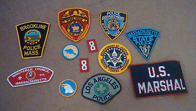 Eight antique 1980s Police, US Marshalls, Minuteman patches