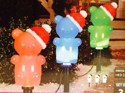 3 Christmas Teddy Bear Pathway Markers Santa Hat Ever Changing Gemmy Lightshow