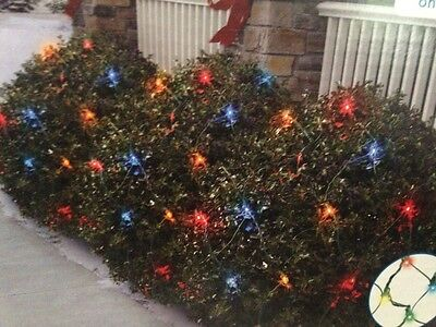 70 Ct LED Multi Color Christmas Net Lights w Green Wire Holiday Time 4ft x 4ft