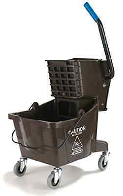 Compact Mop Bucket with Side Press Wringer, 26 Quart / 6.5 Gallon, Brown, New