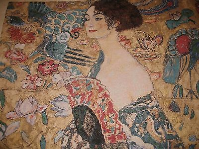 Gustav Klimpt Lady with a Fan Tapestry  Wall Hanging