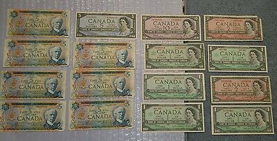 Canada Vintage Note Lot 1954-1972 - $59 Face Value