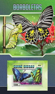 Guinea-Bissau 2016 MNH Butterflies 1v S/S Borboletas Insects Stamps