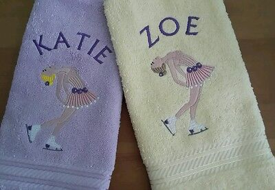 Personalised Girl Ice Skating Towel    Available In 10 Colours