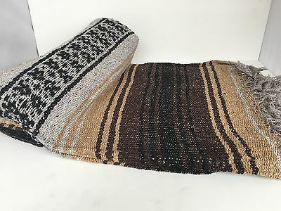 """Authentic Brown/gray Mexican Falsa Blanket Hand Woven Yoga Blanket 48"""" X 72"""""""