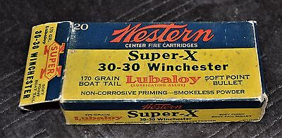 VTG 1930s Western Super-X 30-30 Winchester Lubaloy Soft Point Bullet Box