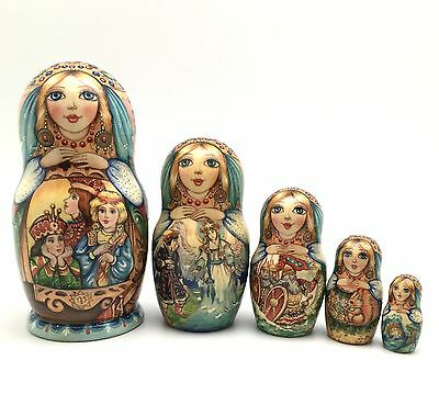 """Russian Fairy Tale """"Tsar Saltan"""" Nesting DOLL Hand Carved Hand Painted Signed"""