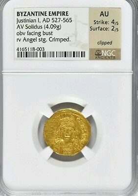 Byzantine Gold Coin Justinian I AV Solidus NGC AU 4/2