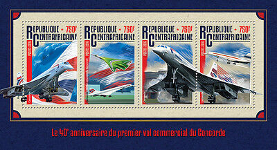 Central African Rep 2016 MNH Concorde Commercial Service 4v M/S Aviation Stamps
