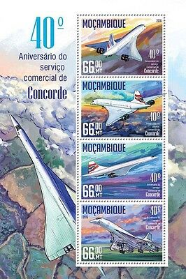 Mozambique 2016 MNH Concorde Commercial Service 40th 4v M/S Aviation Stamps