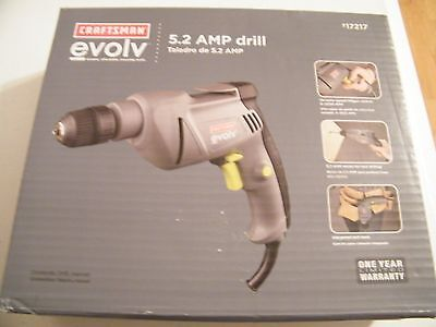"Craftsman Evolv 17217 5.2 amp Corded 3/8"" Drill Free Shipping New"