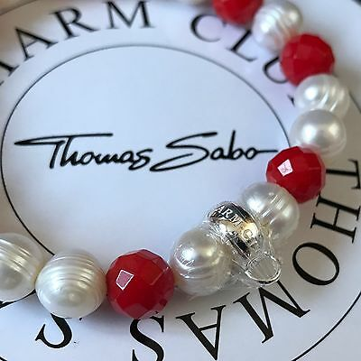 Genuine THOMAS SABO Silver & Pearl Coral Charm Carrier Bracelet 17.5cm LARGE NEW