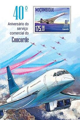 Mozambique 2016 MNH Concorde Commercial Service 40th 1v S/S Aviation Stamps