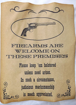 Firearms Welcome on Premises Poster, old west, western, wanted, guns