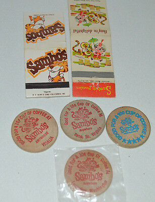 Vintage Sambo Restaurant 2 Matchbooks And 4 Wooden Nickels Coffee