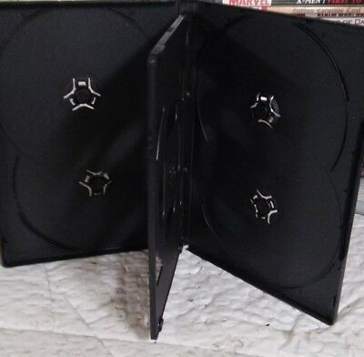 "1 Brand New Premium Black Multi Six 6 Discs DVD/CD Case, Standard 1/2"" 14mm"