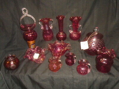 Chalet Angelo Rossi   6 Piece Cranberry Hand Blown Art Glass Vases  Basket