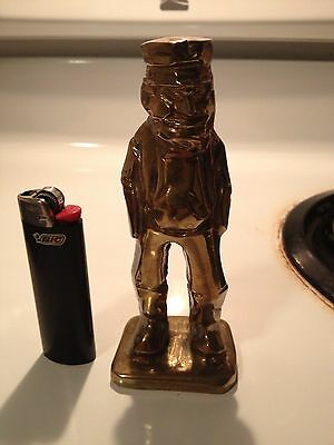 Old Vtg Brass Standing Old Fisherman Sailor Statue Figure Figurine