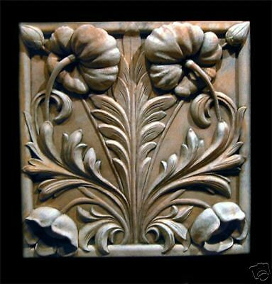 Poppy wall stone relief tile Plaque art sculpture home kitchen art garden decor