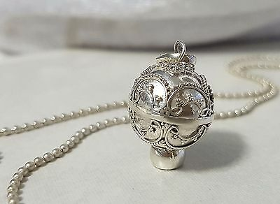 925 STERLING SILVER Double Rings Harmony Ball Angel Caller Pendant 14mm w/Chain