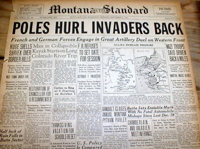 13 1939 headline newspapers NAZI GERMANY INVADES POLAND Conquers it WW II BEGINS