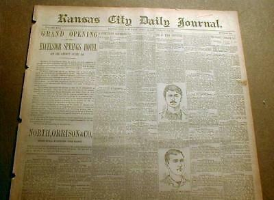 5 newspapers 1880-1890 Kansas City MISSOURI Jesse James