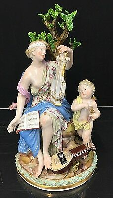 Lovely Musical Antique German Meissen Porcelain Figure Of Lady With Cherub