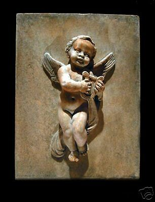 Angel-Eros-Cupid with Lyre stone plaque art wall decor home church icon