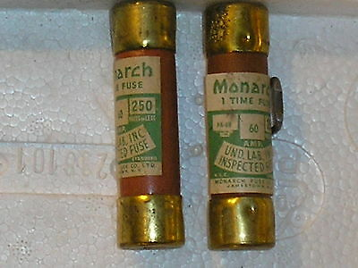 (LOT OF 2)Monarch PA-69 60A 250v one time fuse