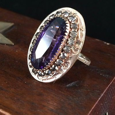 1920s Art Deco Brass Faceted Amethyst Rhinestone Filigree Cocktail Ring Sz 6.75