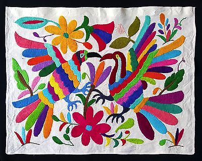 Nice Otomi Embroidered Fabric From Puebla. Mexican Textile. Mexican Folk Art