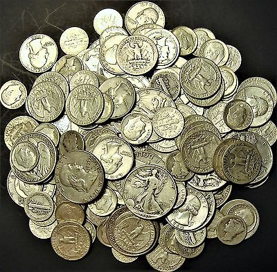 90% Silver 1/2+ Ounce U.S. Coins Halves, Quarters or Dimes (No Nickels)