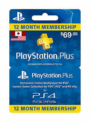 Playstation Plus 1 Year/12 Month Membership Canada and USA (electronic code)