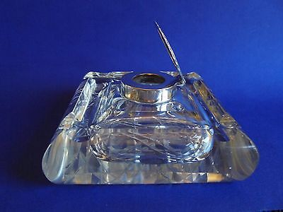Antique English Crystal Paperweight Inkwell Pen Stand Sterling Silver 1900 Bham