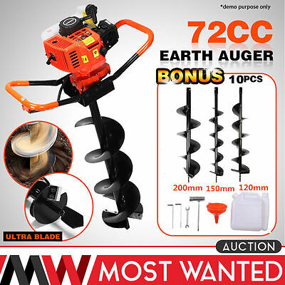 52CC Auger Post Hole Digger Gas Powered auger Borer Fence Ground Drill 3 Bit TH