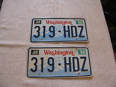 1998 Washigton  319  HDZ License plate pair