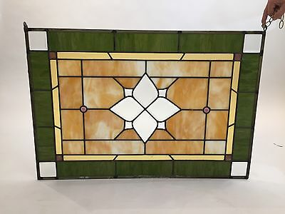 Antique Rectangular Leaded stain Glass Panel