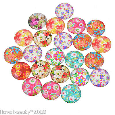 10PCs Mixed Flowers Pattern Dome Cabochon Glass Embe1lishments Jewelry Finding