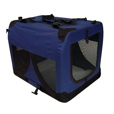 Large Portable Soft Pet Puppy Dog Crate Carriers Cage Kennel Blue