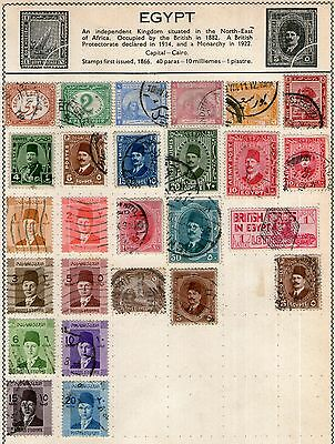 Egypt Stamp Collection on Old Album Page -  Used