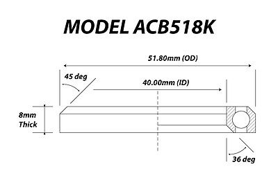 Acb518K (40X51,8X8) 36°/45°  Bike Bearing/cuscinetto Bici - Headset -