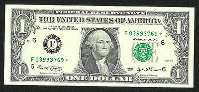 $1 Star Note Us 2003 One Dollar F 03993Xxx  C-Unc Or Better