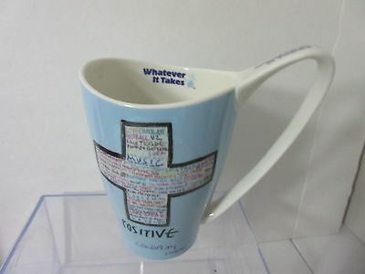 COLDPLAY CROSS Positive Churchhill What Ever It Takes Blue Mug 16 0z.