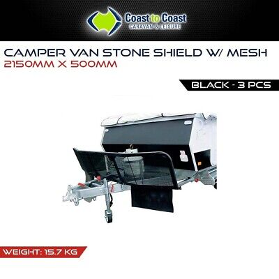 Camper Van Stone Shield Guard with mesh 3PCE Black (2150mm x 500mm) - RV Chassis