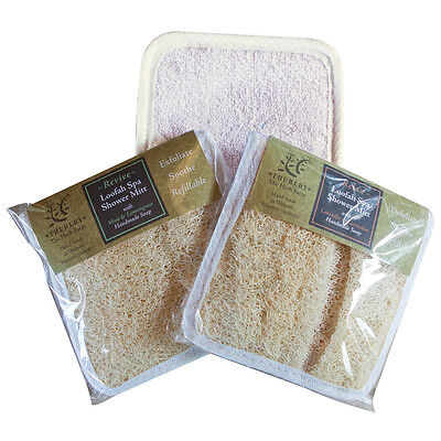 Thurlby Loofah Spa Shower Mitts. Two Blends - Revitalizing Or Relaxing.