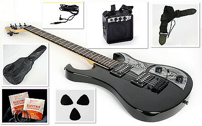 New Beginner Electric Guitar Package with Amp, Case, Cable, Strings More, Black